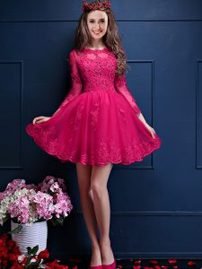 Delicate Scalloped 3 4 Length Sleeve Court Dresses for Sweet 16 Mini Length Beading and Lace and Appliques Hot Pink Chif
