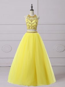 Top Selling A-line Evening Dress Yellow Halter Top Organza Sleeveless Floor Length Backless