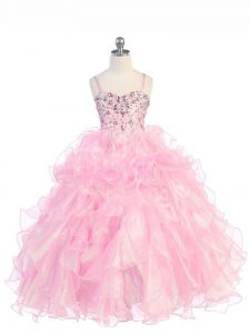 Floor Length Baby Pink Little Girls Pageant Gowns Organza Sleeveless Beading and Ruffles