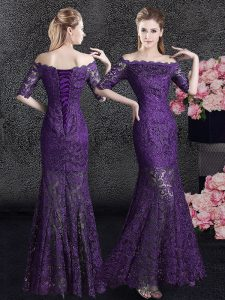 Mermaid Mother Of The Bride Dress Eggplant Purple Off The Shoulder Lace Half Sleeves Floor Length Lace Up