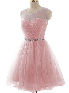 Noble Beading and Ruching Pink Lace Up Sleeveless Mini Length