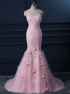 Tulle Sleeveless Prom Gown Brush Train and Appliques and Hand Made Flower