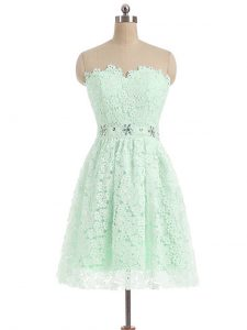 Inexpensive Sweetheart Sleeveless Lace Dress for Prom Beading and Lace Zipper