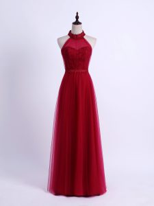 Sweet Wine Red Sleeveless Floor Length Lace and Appliques Lace Up Bridesmaid Gown