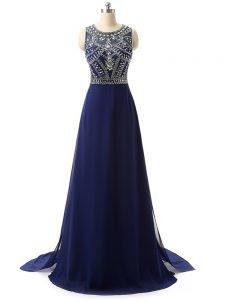 Most Popular Scoop Sleeveless Prom Party Dress Brush Train Beading Navy Blue Chiffon