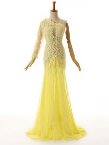 Modern One Shoulder Sleeveless Chiffon and Tulle Formal Evening Gowns Lace and Appliques Side Zipper