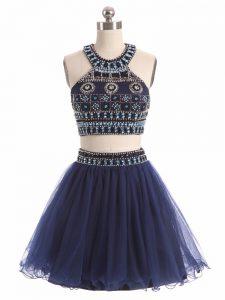 Navy Blue Sleeveless Mini Length Beading Zipper Cocktail Dresses