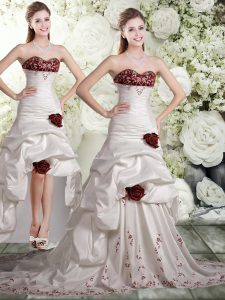 Vintage Taffeta and Chiffon Sweetheart Sleeveless Brush Train Backless Embroidery and Ruffles and Hand Made Flower Brida