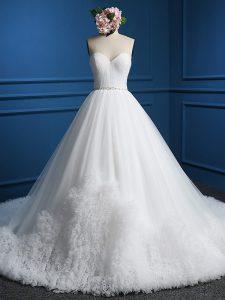 Sumptuous Sleeveless Court Train Beading Zipper Bridal Gown