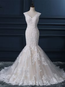 Traditional Sleeveless Tulle Brush Train Zipper Bridal Gown in White with Lace