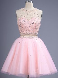 Spectacular Baby Pink Lace Up Scoop Beading Dama Dress Tulle Sleeveless