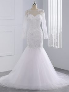 White Bridal Gown Beach and Wedding Party with Beading and Lace and Appliques Scoop Long Sleeves Brush Train Zipper