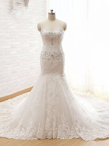 White Mermaid Sweetheart Sleeveless Lace Court Train Lace Up Beading and Lace and Appliques Wedding Dress