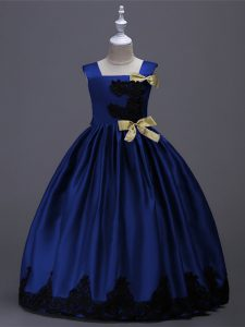 Most Popular Royal Blue Square Zipper Appliques and Bowknot Toddler Flower Girl Dress Sleeveless