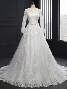 Dynamic Long Sleeves Lace Lace Up Wedding Dresses with White Brush Train