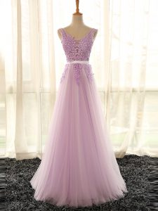 Wonderful Sleeveless Appliques Lace Up Bridesmaid Dress