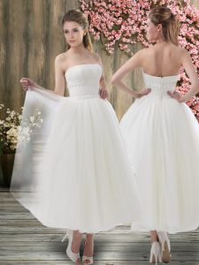 Beauteous Organza Off The Shoulder Sleeveless Zipper Ruching Bridal Gown in White
