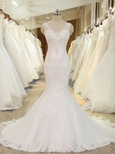 White Wedding Gowns Beach and Wedding Party with Beading and Lace and Appliques V-neck Sleeveless Brush Train Backless
