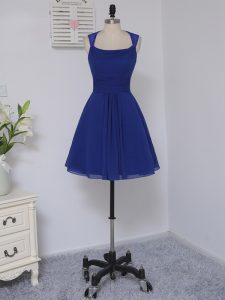 Mini Length Empire Sleeveless Royal Blue Wedding Party Dress Zipper