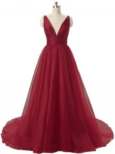 Super Burgundy Sleeveless Organza Brush Train Backless Prom Evening Gown for Prom and Party and Military Ball and Beach