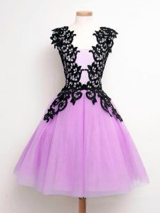 Lilac Tulle Lace Up Straps Sleeveless Knee Length Bridesmaid Dress Lace