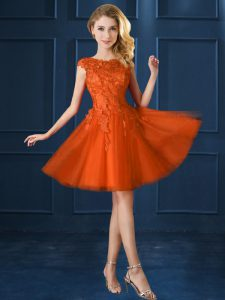 Custom Made Knee Length Orange Red Court Dresses for Sweet 16 Bateau Cap Sleeves Lace Up