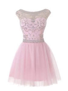 Fitting Baby Pink Tulle Zipper Scoop Sleeveless Mini Length Homecoming Dress Beading
