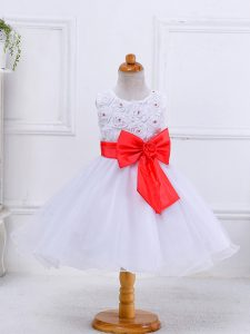 White Little Girls Pageant Dress Wholesale Wedding Party with Bowknot Scoop Sleeveless Zipper