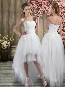 White Sleeveless High Low Ruching Lace Up Wedding Gown