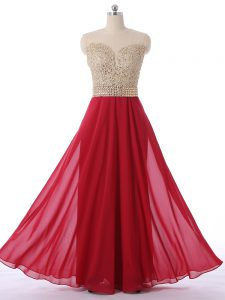 Shining Red Zipper Quinceanera Court Dresses Beading Sleeveless Floor Length