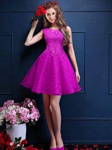 Hot Selling Knee Length A-line Sleeveless Fuchsia Quinceanera Dama Dress Lace Up