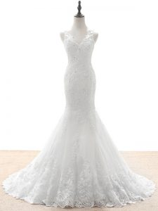 Tulle V-neck Sleeveless Brush Train Zipper Beading and Lace and Appliques Bridal Gown in White
