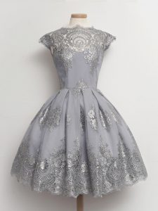 Trendy Cap Sleeves Tea Length Lace Lace Up Quinceanera Court of Honor Dress with Grey