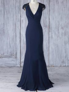 Navy Blue Cap Sleeves Floor Length Lace Side Zipper Quinceanera Court Dresses