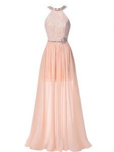 Popular Sleeveless Floor Length Beading Backless Evening Dresses with Peach