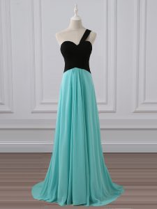 Superior Aqua Blue Empire One Shoulder Sleeveless Chiffon Brush Train Zipper Ruching Wedding Party Dress
