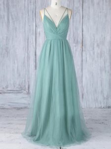Green Sleeveless Floor Length Appliques Criss Cross Damas Dress
