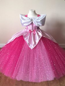 Stylish Fuchsia Little Girl Pageant Dress Wedding Party with Sequins Off The Shoulder Short Sleeves Zipper