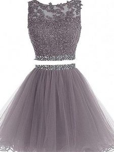 Beauteous Grey Two Pieces Scoop Sleeveless Tulle Mini Length Zipper Beading and Lace and Appliques