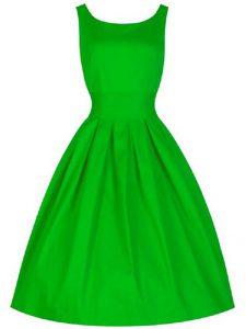 A-line Bridesmaids Dress Green Scoop Taffeta Sleeveless Knee Length Lace Up