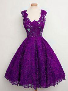 Purple A-line Straps Sleeveless Lace Knee Length Lace Up Lace Vestidos de Damas