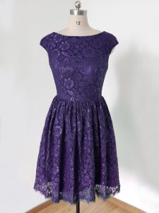 Knee Length Empire Cap Sleeves Purple Court Dresses for Sweet 16 Lace Up