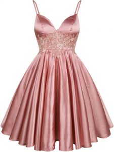 Spaghetti Straps Sleeveless Court Dresses for Sweet 16 Knee Length Lace Pink Elastic Woven Satin