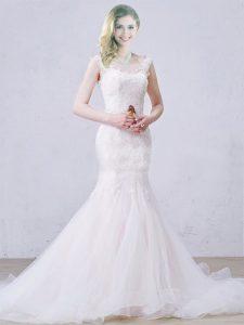 Shining Mermaid Sleeveless White Wedding Dress Brush Train Lace Up