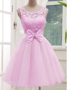 Hot Selling Scoop Sleeveless Quinceanera Court of Honor Dress Knee Length Lace and Bowknot Lilac Tulle