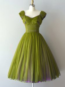 Chiffon V-neck Cap Sleeves Lace Up Ruching Quinceanera Court Dresses in Olive Green