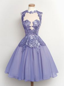 High Quality Lilac A-line Lace Dama Dress Lace Up Chiffon Sleeveless Knee Length