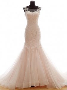 Best Selling Tulle Bateau Sleeveless Brush Train Lace Up Lace Wedding Gowns in Pink