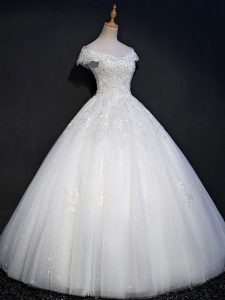 Colorful Floor Length Ball Gowns Sleeveless White Wedding Gowns Lace Up