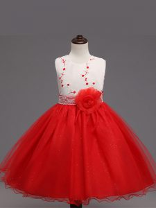 Red Ball Gowns Scoop Sleeveless Organza Knee Length Zipper Appliques and Hand Made Flower Child Pageant Dress